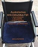 Australisches Anti-Dekubitus Fell (Sitzkissen, Rollstuhlfell 45 x 40 cm). Druckentlastender, ultra-dichter Lammfell-Komfort, 30°- 95°C maschinen-waschbar und trockner-geeignet ! Super-atmungsaktiv und sehr bequem. Die Experten von EPUAP, NPUAP, IQWiG und Cochrane bestätigen in Ihren aktuellen Anti-Dekubitus Ratgebern, dass die speziellen Australischen Antidekubitus-Felle das Risiko für ein Wundliegen reduzieren können! Auch sehr gut als rückenfreundliches Komfort Sitzkissen auf dem Bürostuhl, dem Auto- oder LKW-Sitz. LANAMED Anti-Dekubitus Sitzkissen 45 x 40 cm