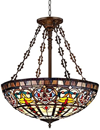 "Ornamental Tiffany Style 24"" Wide Art Glass Pendant Light ..."
