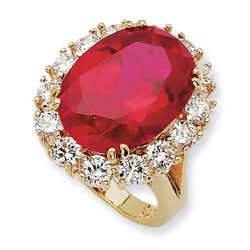 Simulated Ruby Ring, Size 8