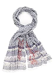 Indigo Collection Lightweight Pure Cotton Contrast Border Scarf