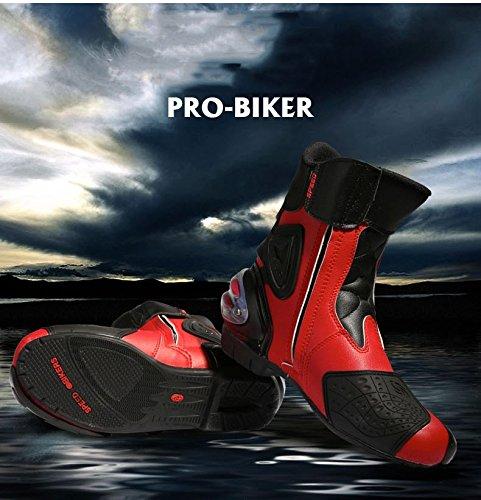 バイクブーツ レーシングブーツ  ツーリングブーツ ライディングブーツ オンロード シューズ メンズ ライダースブーツ モトクロスブーツ プロテクトスポーツ にも 防水 防寒 バイクブーツ バイク用品 オートバイ ショート サイズ豊富 大人用 高品質 レッド 42(26cm)