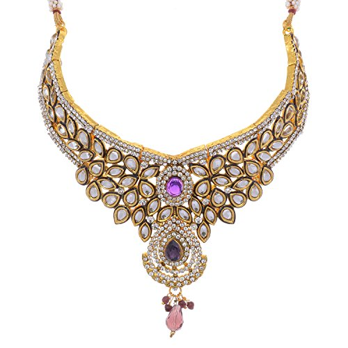 Aditri Aditri Purple Colour Cubic Zirconia Necklace For Women (Multicolor)