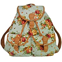 Generic Ladies Girls Flower Floral Skull Canvas Backpack Rucksack Travel School College Bag from Dachengec