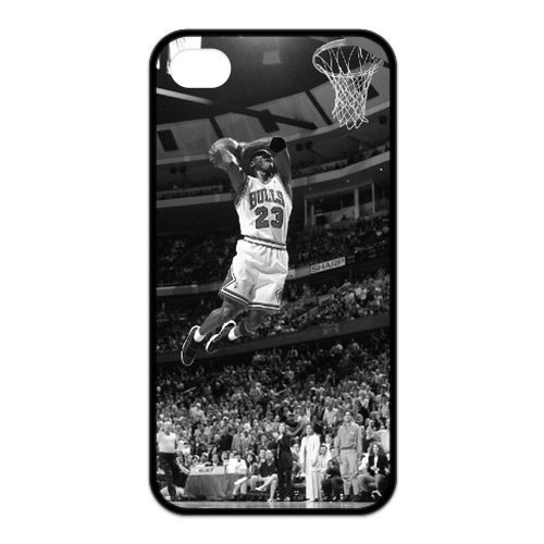 Popular NBA Chicago Bull MICHAEL JORDAN DUNK AT AGE 50 iPhone 4 4s Case - Best Silicone Protection Cover for Apple iPhone-Black-DIY at Amazon.com