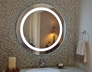 wall mounted lighted vanity mirror led mam1d32 commercial grade 3. Black Bedroom Furniture Sets. Home Design Ideas