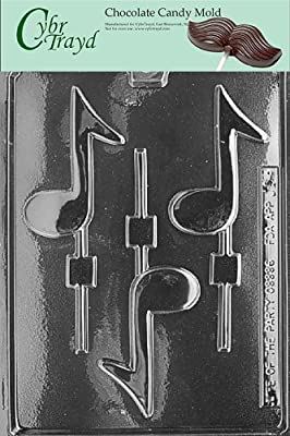 Cybrtrayd J005 Musical Note Lolly Chocolate Candy Mold with Exclusive Cybrtrayd Copyrighted Chocolate Molding Instructions