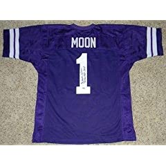 Signed Warren Moon Jersey - #1 Throwback Gtsm - Autographed College Jerseys