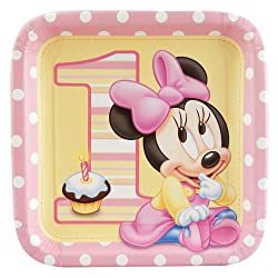 Minnie Mouse 1st Birthday Large Paper Plates (8ct)