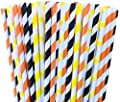 Orange, Yellow and Black Striped and Polka Dot Paper Straws -Construction Birthday Party Supply 100%Biodegradable 7.75 Inches Pack of 100