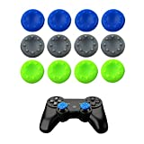 ARICHEZO 6 Pairs Thumb Grip Stick Cover For PS4 PS3 PS2 XBOX 360 ONE WII - Case Skin Joystick Controller - Pack of 12 pcs (4 Blue + 4 Gray + 4 Green) Set # 11