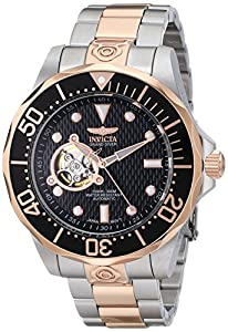 Invicta Men's 13708 Grand Diver Automatic Black Textured Dial Two Tone Stainless Steel Watch