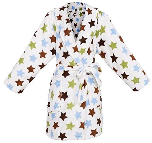 Simplicity Boy's Winter Plush Velvet Fleece Stars Bathrobe Robe w/Two Pockets,M