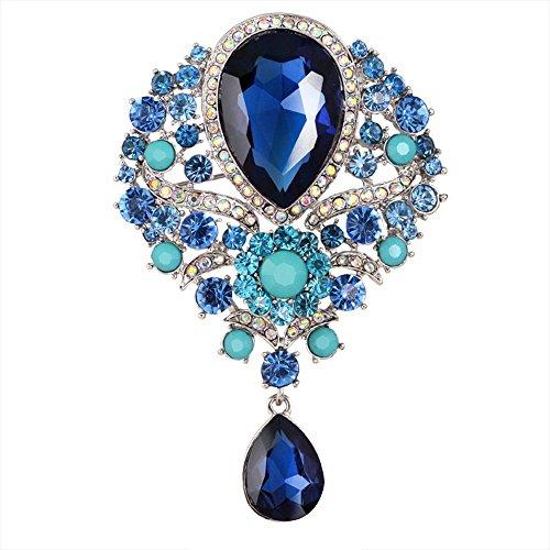 Contever® Vintage Gioielli di Goccia d'acqua Pendente Spilla Perno con Strass Cristallo Grande Floreale Decorazioni Abito Da Sera -- Blu