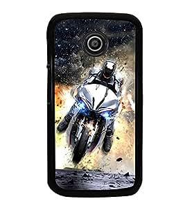 Fuson Premium 2D Back Case Cover Man on bike With Multi Background Degined For Motorola Moto E2::Motorola Moto E (2nd Gen)