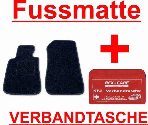 SCHNÄPPCHEN Passform Fussmatte DUO schwarz + KFZ-Verbandtasche Mercedes E-Klasse W211 / S211 Limousine / T-Modell Kombi Bj. 03/02 - 02/09 mit Mattenhalter vorne (Druckknopf)