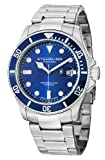 Stuhrling Original Mens 417.03 Aquadiver Regatta Espora Swiss Quartz Professional Diver Blue Dial Stainless Steel Bracelet Watch