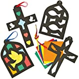 Christianity Stained Glass Effect Hanging Decs. - Pack of 4