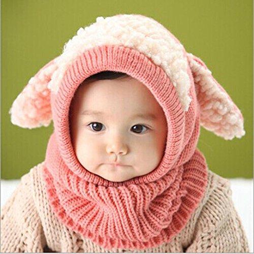 Winter Baby Kids Caps, Misaky Warm Woolen Coif Hood Scarf Hats (Free Size, Pink)