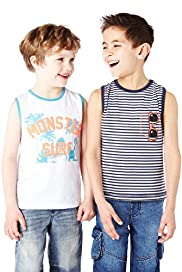 2 Pack Pure Cotton Graphic Monster & Striped Vest Tops