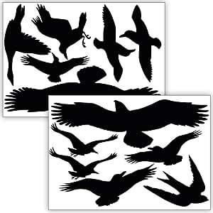 Wandkings WK-10900 Vogelschutz und Fensterschutz, 12-Aufkleber, Schutz vor Vogelschlag, schwarz