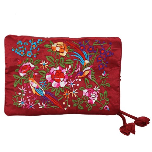 Silky Embroidered Brocade Jewelry Travel Organizer Roll Pouch – Garnet Burgundy