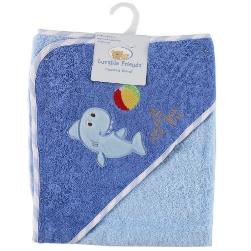 Luvable Friends Underwater Animals Hooded Woven Terry Baby Towel, Blue - 1