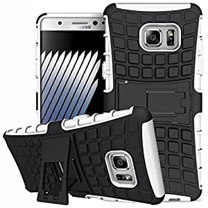DMG Rugged Hard Back Cover Kickstand Armor Case for Samsung Galaxy Note 7 (White)