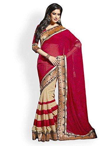 c9ba0f79b41763 Janasya Georgette Saree(JND0182_Red) Price in India   Buy Janasya Georgette  Saree(JND0182_Red) Online - Gludo.com