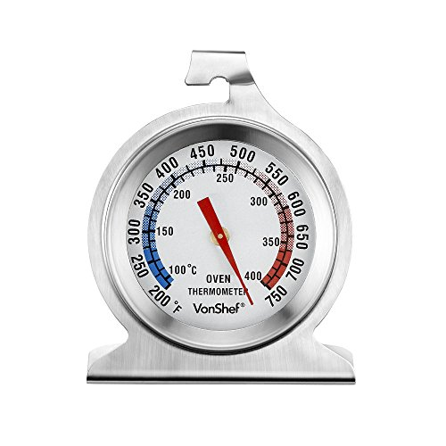 VonShef Precision Oven Thermometer Stainless Steel - Hang or Stand in Oven Temperature Gauge (Stand Oven compare prices)