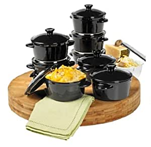Denmark Stoneware Cocottes - Set of 8 Individual Mini Souffle & Casserole Dishes, 10oz - Black