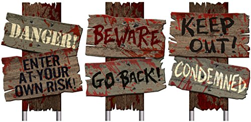 Set of 3- Halloween Cemetery Sidewalk Signs-