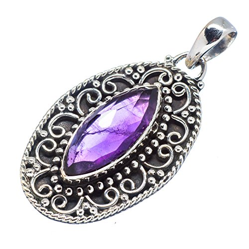 Ana Silver Co Amethyst 925 Sterling Silver Pendant 1 3/4