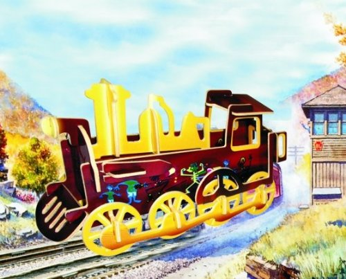 Puzzled Colorful Wood Craft Construction Rolling Locomotive 3D Jigsaw Puzzle