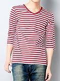 赤x白(厚め) V XL (ディーゼルパワー)DIESEL POWER マリン ボーダー Tシャツ メンズ Vネック ボーダー カットソー 7分袖 七分袖 Uネック おしゃれ ストレッチ 春 夏 DSP05072