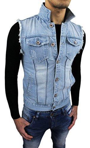 Giubbotto Smanicato di Jeans uomo Gilet Slim Fit casual aderente (XXL)