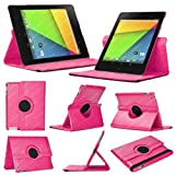 Stuff4 MR-NX7-2-L360-DP-STY-SP Leather Smart Case with 360 Degree Rotating Swivel Action and Free Screen Protector/Stylus Touch Pen for 7 inch Google Nexus 7 - Deep Pink