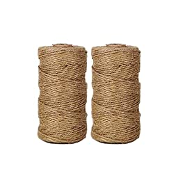 AMTION Heavy Duty Jute Twine 300 Feet Arts Crafts Gift Twine Christmas Twine Industrial Packing Materials Durable Hemp Cord String 2 Pcs