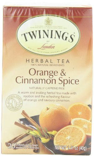 TWININGS Herbal Tea, Orange and Cinnamon Spice, 20-Count (Pack of 6)