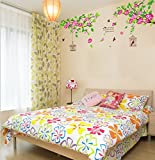Asmi Collection PVC Wall Stickers Wall Decals Summer Tree Cage Flowers
