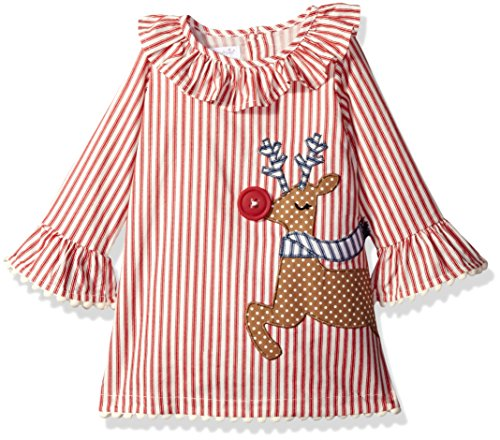 Mud Pie Girls' Holiday Dress Ruffle, Multi Reindeer, 12-18 Months (Mud Pie Girl 18 Months compare prices)