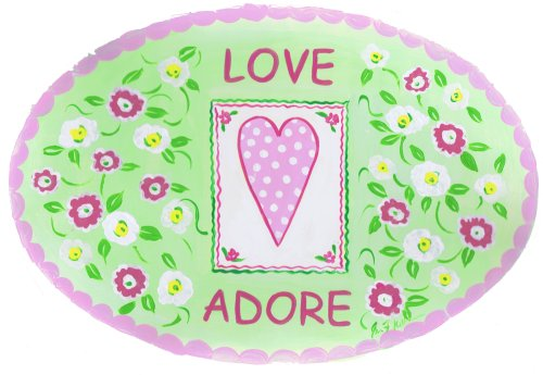 The Kids Room by Stupell Love Adore with Heart and Flowers Oval Wall Plaque