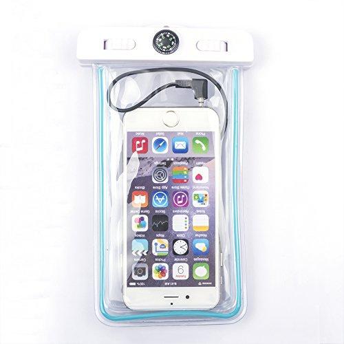 TomEasy® Wasserdichte Tasche Hülle Imprägniern Beutel Abdeckung für Apple iPhone 6 5 4 3, iPod Touch Samsung Galaxy S5, S4, S3, Note 3, 3 Neo, S4 mini, S3 mini, Sony, Nokia, HTC, Huawei Ascend P7, G6, P7 mini, Y530, Y300, HTC One M8 -M7 -mini,Google Nexus 4 5 7 10, BlackBerry, Motorola Moto, Crystal Clear Handy Pouch Strand Angeln Wandern Wassersport Rafting Kajak Schwimmen und Camping - schützen Handys vor Wasser, Staub und Schmutz Armband mit Audio Jack (blau)