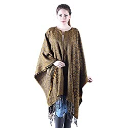 Owncraft mustard acro wool cape for women