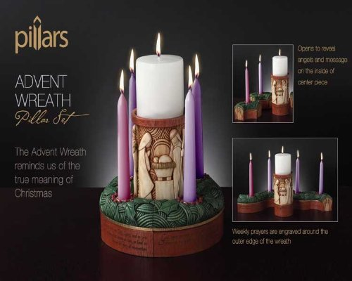 Enesco Pillars Advent Wreath 5-Piece Set Figurine, 6-1/2-Inch