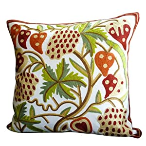 Amazon.com - Lotus Seed Pots Crewel Embroidered Design Throw