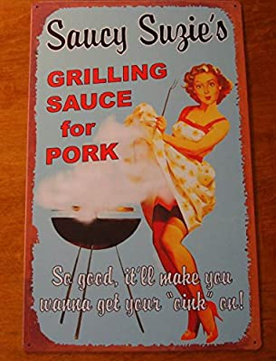 Saucy Suzies Bbq Sauce Grill Smoker Sign Pin Up Girl Barbeque Restaurant Decor