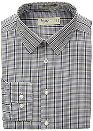 Haggar Men's Mechanical Stretch Glen Plaid Fancy Poplin Long Sleeve Shirt, Medium Blue, 15/32-33