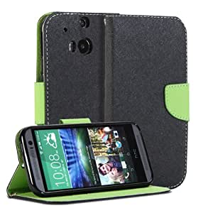 GMYLE(R) Wallet Case Classic for HTC One 2 + Plus M8 [The All New ONE]- Black & Wasabi Green Cross Pattern PU Leather Slim Magnetic Flip Stand Cover