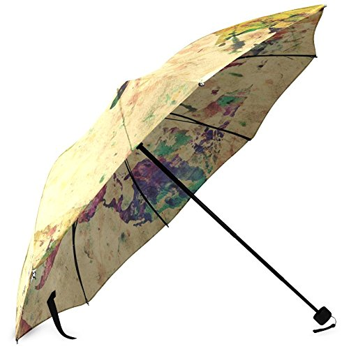 InterestPrint Vintage Map of the World Fold Umbrella 2