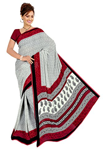 Varsha Sarees Women's Synthetic Georgette Unstitched White Colored Geometric Print Saree_3845c
